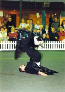 man lying on the ground and border collie dog jumping through his legs at a dog show